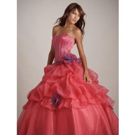 Společenské šaty růžové na míru - Quinceanera 2011