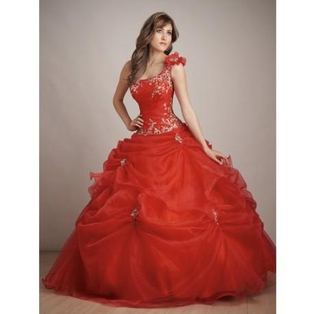 Luxusní červené společenské šaty na míru - Quinceanera
