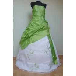 Krásné maturitní šaty na míru - Quinceanera - zeleno-bílé