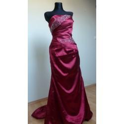 Vínové luxusní společenské šaty AKCE