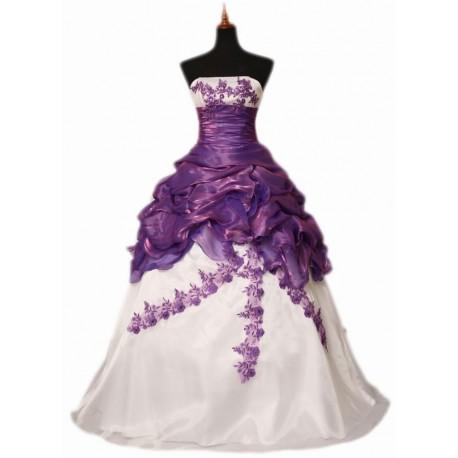 Fialovo-bílé společenské šaty na míru