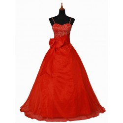 červené společenské šaty s mašlí na míru
