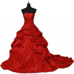 luxusní červené společenské šaty na míru s vlečkou - růže