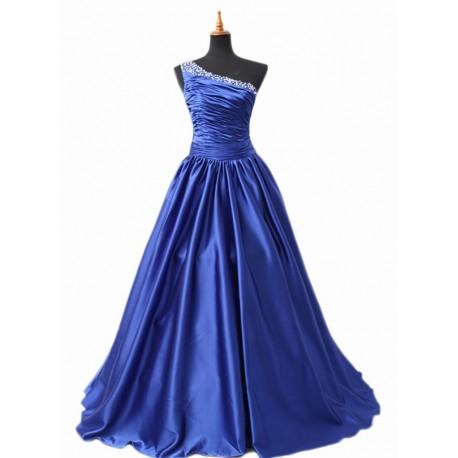 modré večerní šaty na míru na jedno ramínko