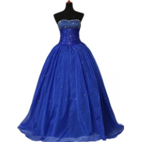 modré bohatě zdobené šaty na míru - luxus