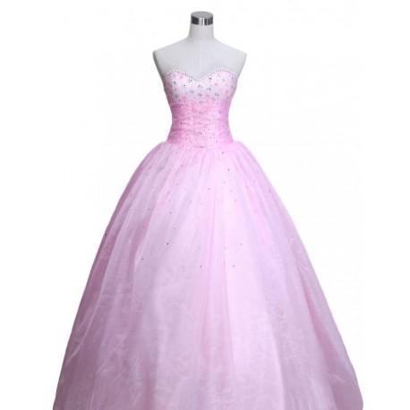 romatické růžové společenské šaty na míru