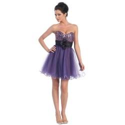 mini společenské šaty na míru fialové