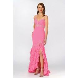 růžové dlouhé společenské šaty Irena