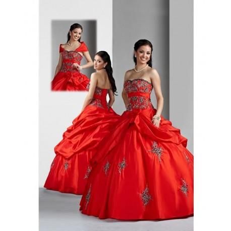 červené honosné společenské šaty