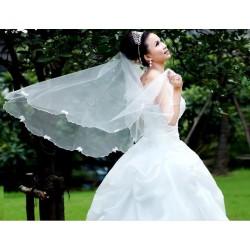smetanový svatební závoj s perličkami a mašličkami Z04