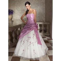 společenské šaty na maturitní ples růžovo-bílé