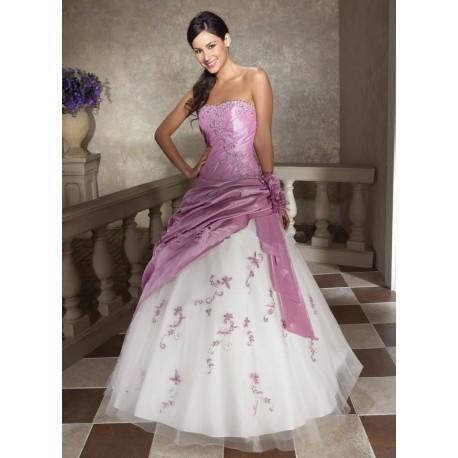 společenské šaty na maturitní ples růžovo-bílé SKLADEM