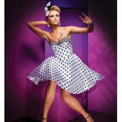 puntíkaté krátké společenské šaty Fiona S-M SKLADEM