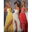 společenské šaty Mandy 22 žluté, bílé, meruňkové