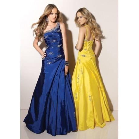 maturitní šaty Mandy 34 modré a žluté