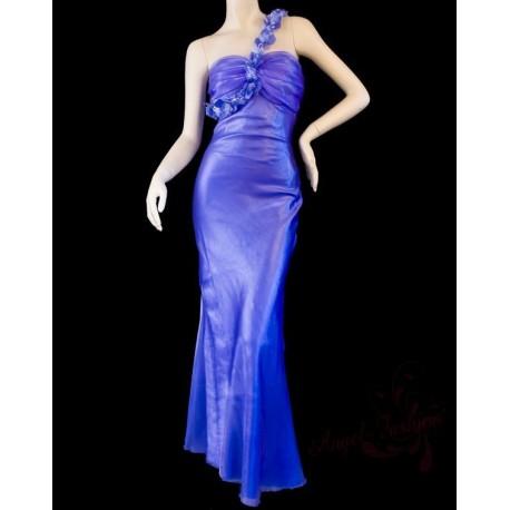 dlouhé fialové společenské šaty na jedno rameno M
