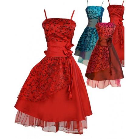 Sofia koktejlky společenské šaty - rudé, červené, zeleno-modré