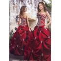 rudé vyšívané plesové společenské šaty Beate