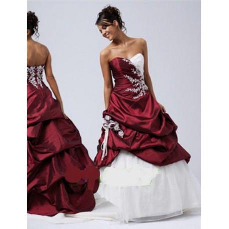 plesové společenské svatební šaty bílo-rudé Brody M-L - Hollywood ... 89cbb2aa329