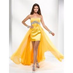 plesové společenské šaty Mandy 34 žluté, modré a oranžové