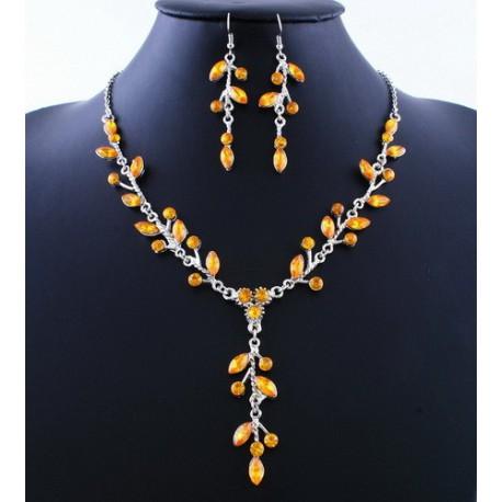 štrasová sada náhrdelník a náušnice - fialová