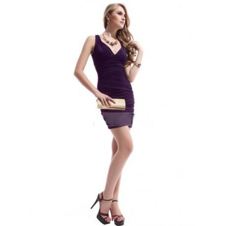 fialové krátké společenské šaty M-L