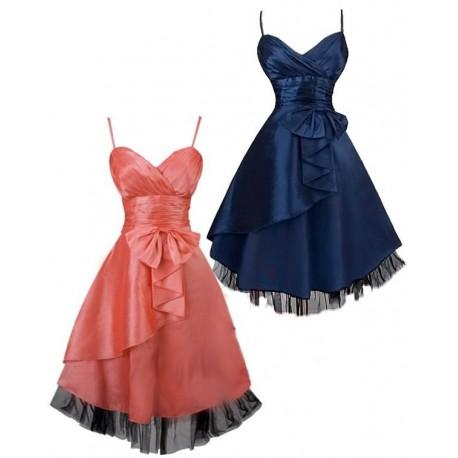 Sofia krátké společenské šaty koktejlky - modré, růžové