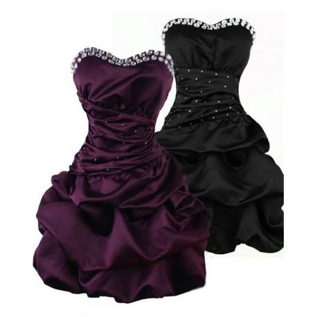 Sofia koktejlky krátké společenské šaty - fialové, černé