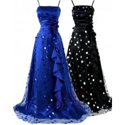 Sofia dlouhé puntíkaté společenské šaty - modré, černé