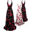 Sofia dlouhé květované společenské šaty - černé, bílé