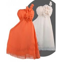 Sofia krátké společenské šaty - bílé, oranžové