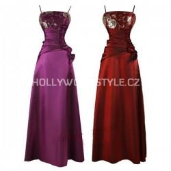Sofia dlouhé společenské šaty - fialové, červené