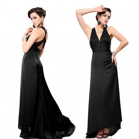elegantní černé dlouhé společenské šaty Alisa S