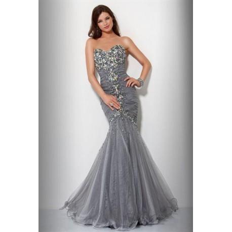 e5b8349c95 Mandy luxusní stříbrné společenské plesové šaty M-L - Hollywood ...