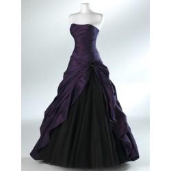 Mandy plesové společenské fialovo-černé šaty S-M