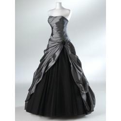 Mandy plesové společenské stříbrno-černé šaty S-M
