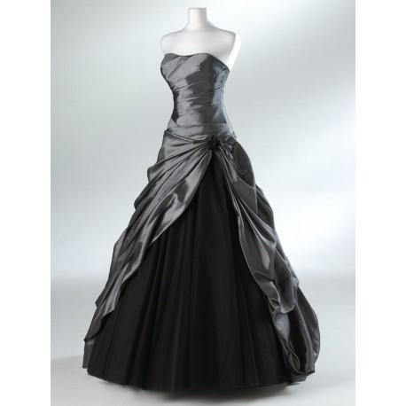 Mandy plesové společenské stříbrno-černé šaty L-XL