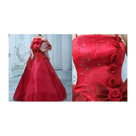 červené plesové společenské šaty Ronnie S-M