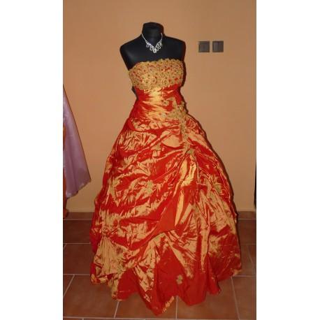 oranžové společenské plesové maturitní šaty XXL-XXXL