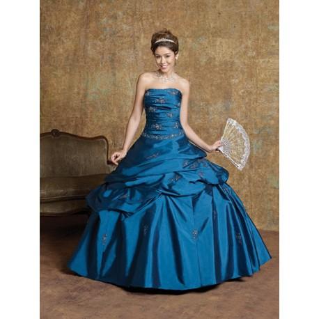 Mandy modré společenské plesové šaty na maturitní ples M-L
