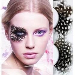 luxusní umělé řasy - bílo-černé peříčka