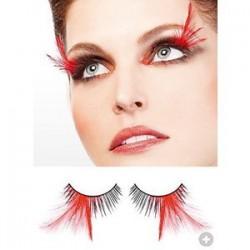 luxusní umělé řasy - černé s červeným peřím