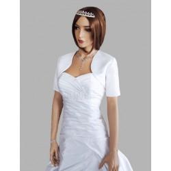 bílé svatební bolerko s krátkými rukávy XL
