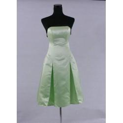 krátké zelené saténové společenské šaty S