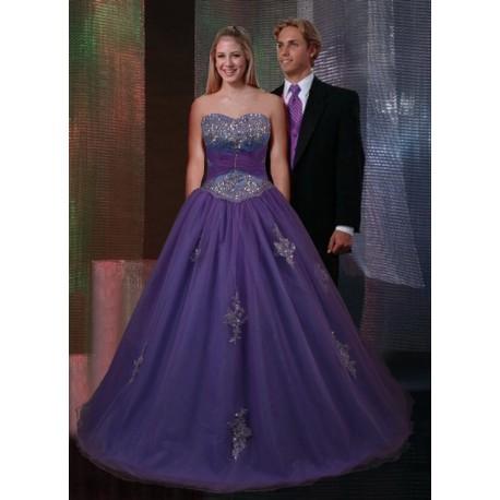 luxusní plesové společenské fialové šaty Arial S-M včetně bolerka