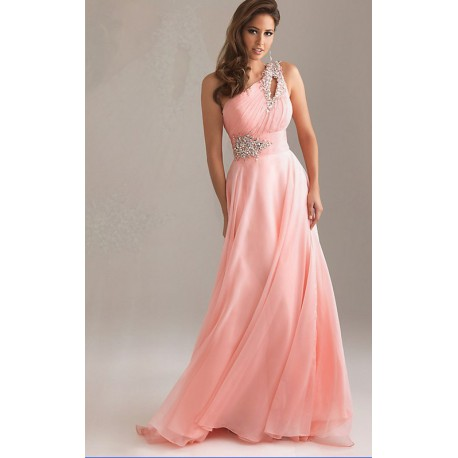 Výprodej! brzy dlouhé antické společenské plesové růžové šaty na jedno  rameno Donna S 46823f89f9