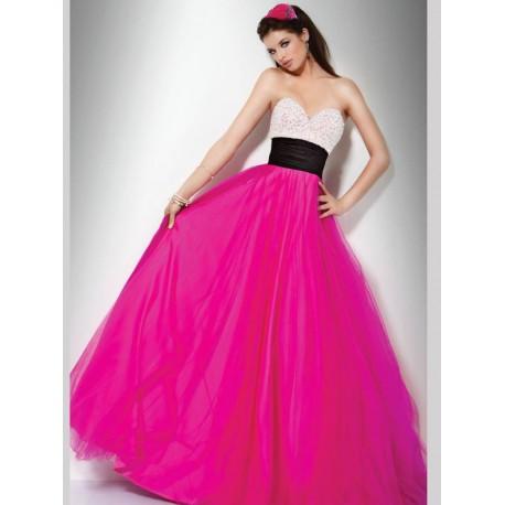 brzy růžovo-bílé plesové společenské šaty na maturitní ples Arial M-L