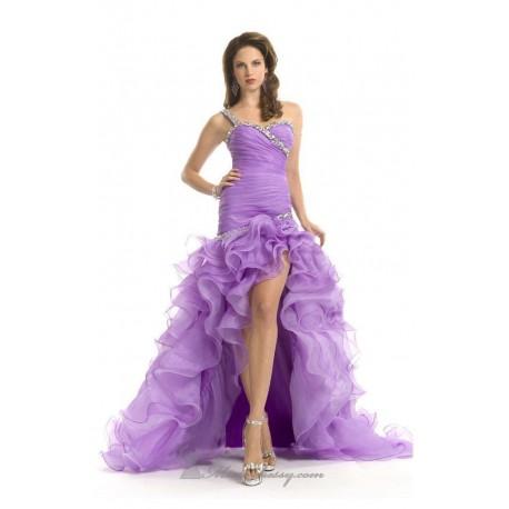 brzy sexy plesové maturitní fialové šaty na jedno rameno Amanda S-M