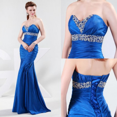 brzy tmavě modré plesové společenské uplé šaty Beka S-M