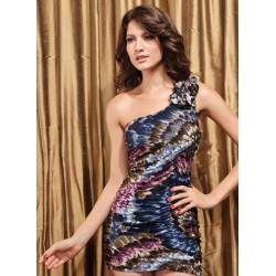 brzy sexy krátké barevné společenské šaty na jedno rameno S-M
